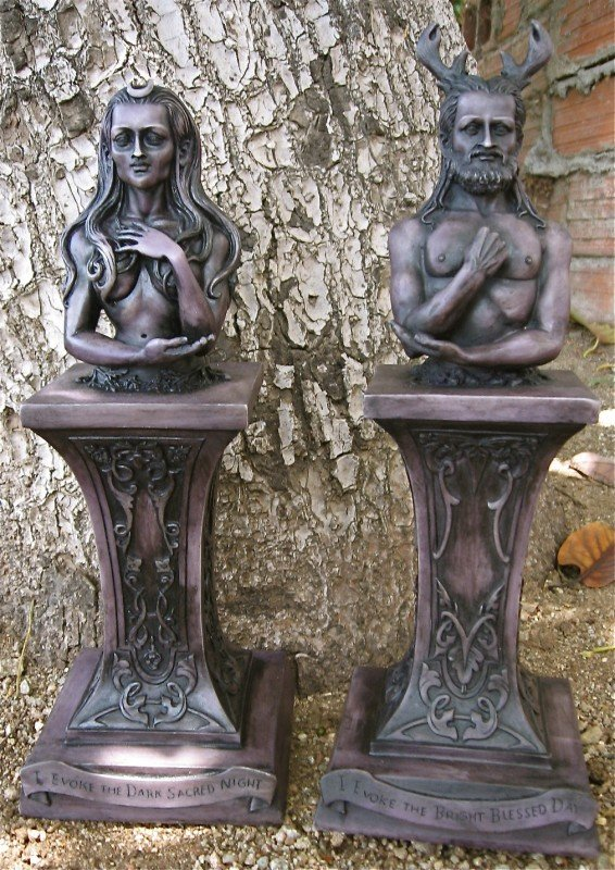 Statues - Crescent -Crowned Goddess & Stag-Horned God -Wood