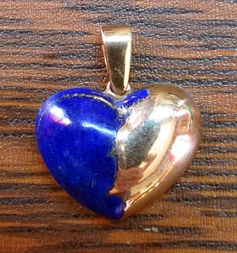 Gold and Natural Lapis Heart